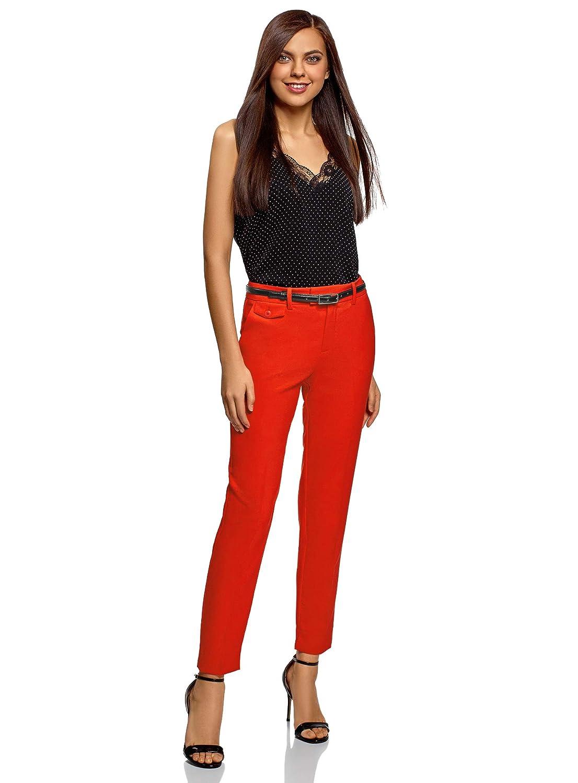 oodji Collection Femme Pantalon Classique /à Plis Marqu/és