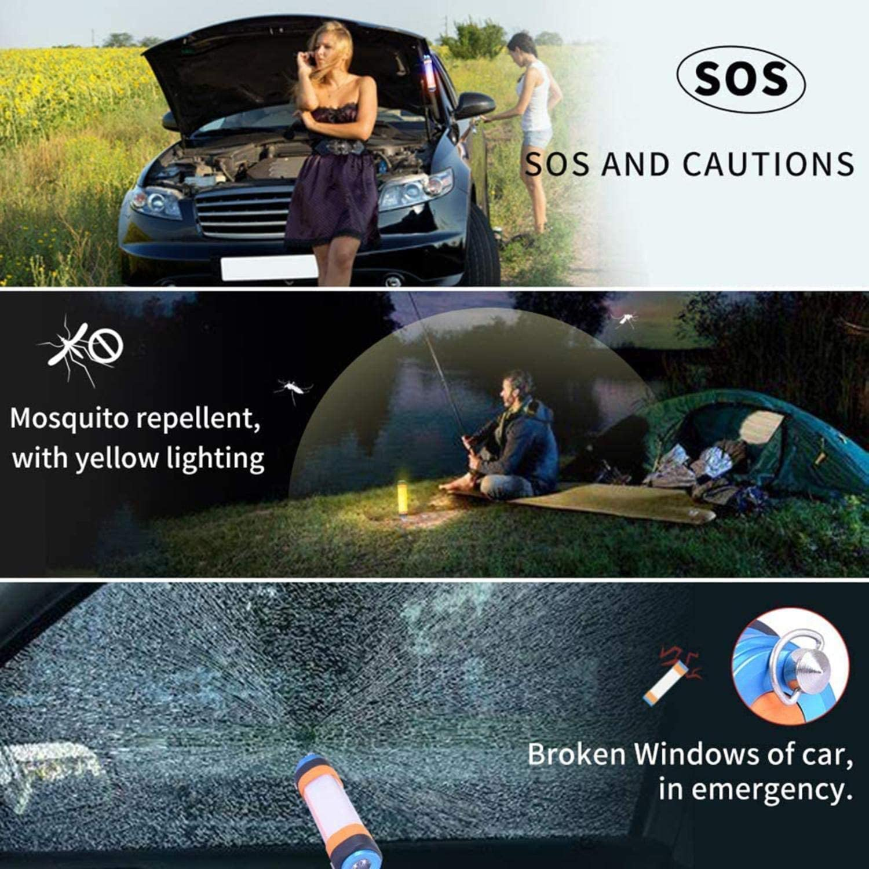 precauci/ón SOS Sunmiy Luz de camping recargable con 3 modos de luz LED regulable linterna superbrillante repelente de mosquitos magn/ético y colgador