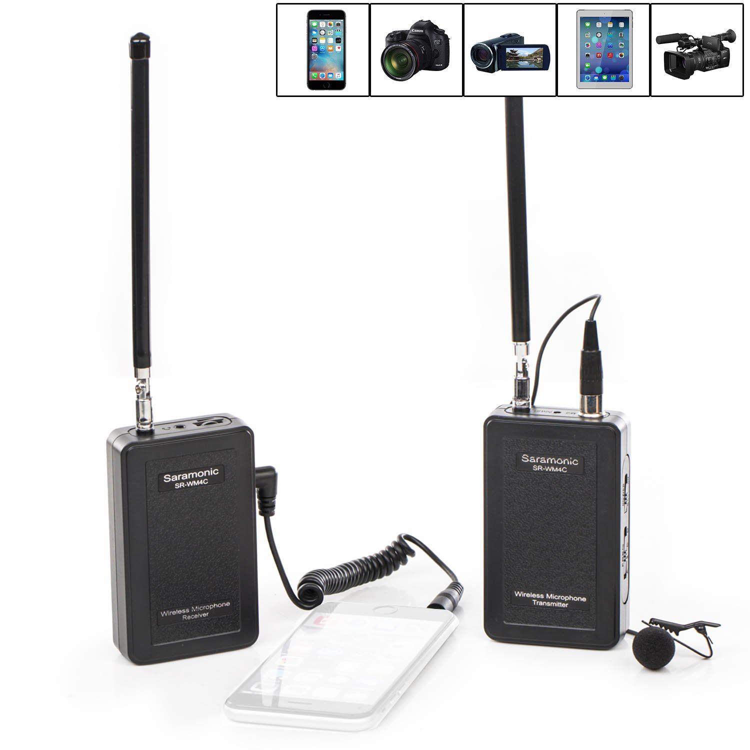 Saramonic SR-WM4C Wireless Lavalier Microphone System for IOS Smartphone iPhone 8 8 plus 7 7 plus 6 6s iPad and DSLR Cameras Camcorder Canon 6D 600D 5D2 5D3 Nikon D800 Sony DV