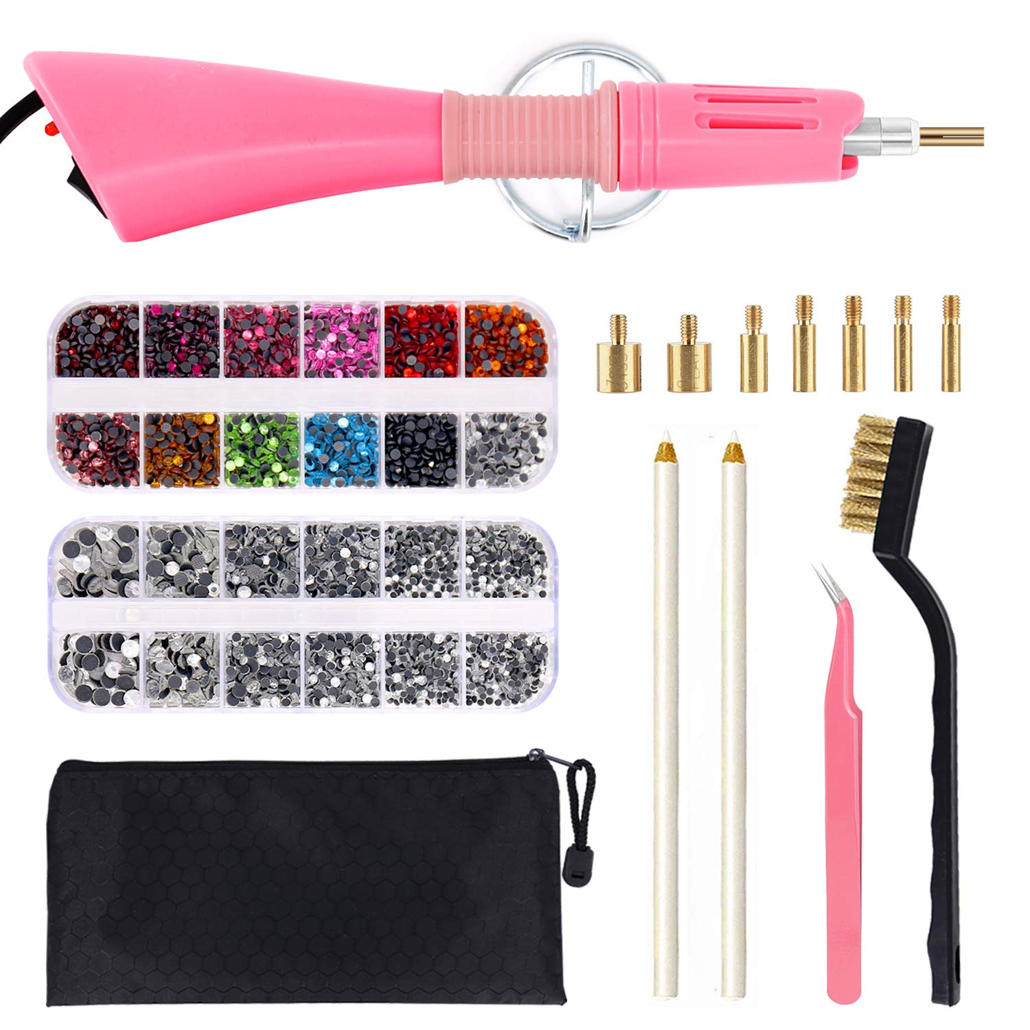 WAMTHUS Hotfix, DIY Applicator Wand Setter Tool 7 Different Sizes Tips, Tweezers & Brush Cleaning kit and 2 Pack Hot-Fix Crystal Rhinestones, Pink by WAMTHUS
