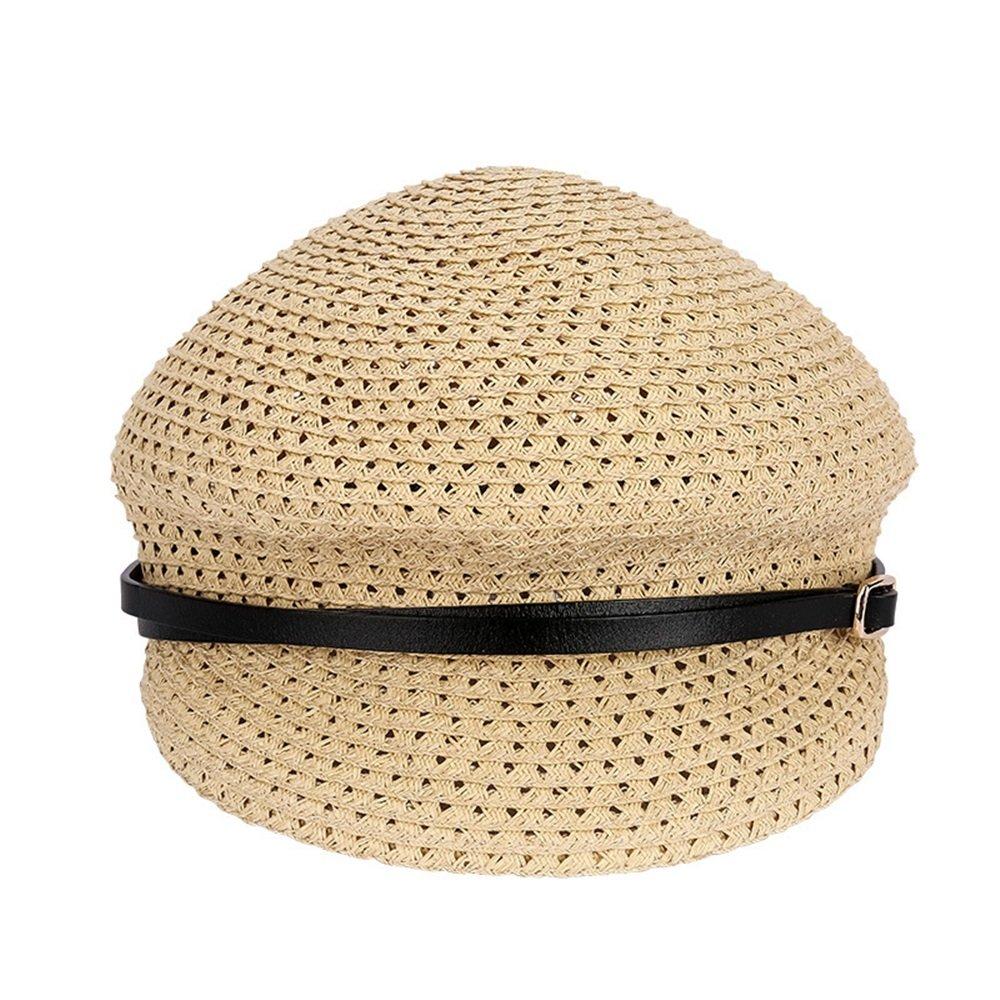 Beige Women's Straw hat Lightweight Breathable Cap Women's Straw Hat Summer Outdoor Hat Straw (color   orange)