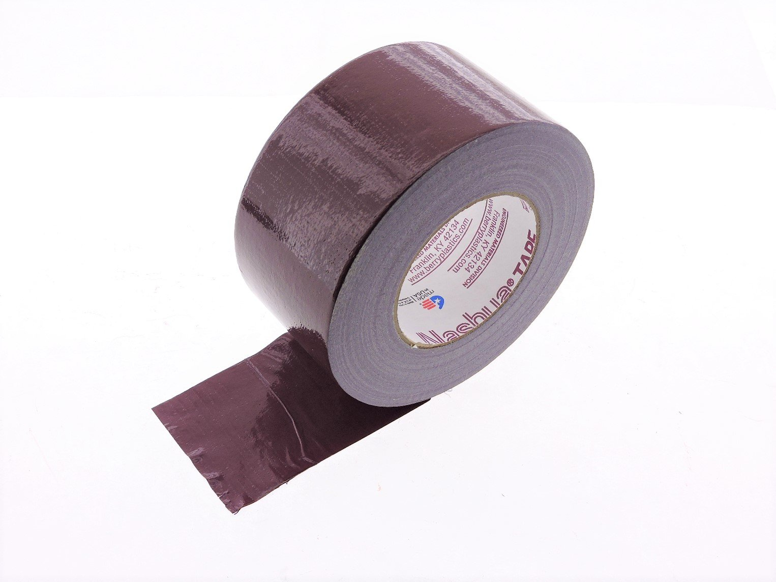 3'' in Maroon Burgundy Duct Tape Nashua 2280 Heavy 9 mil Cloth Reinforced PE Back Duct Tape Water UV Resistant Hand Tearable 60yd USA Made 70 oz inch adhesion 20% elongation 24 lb in tensile strength