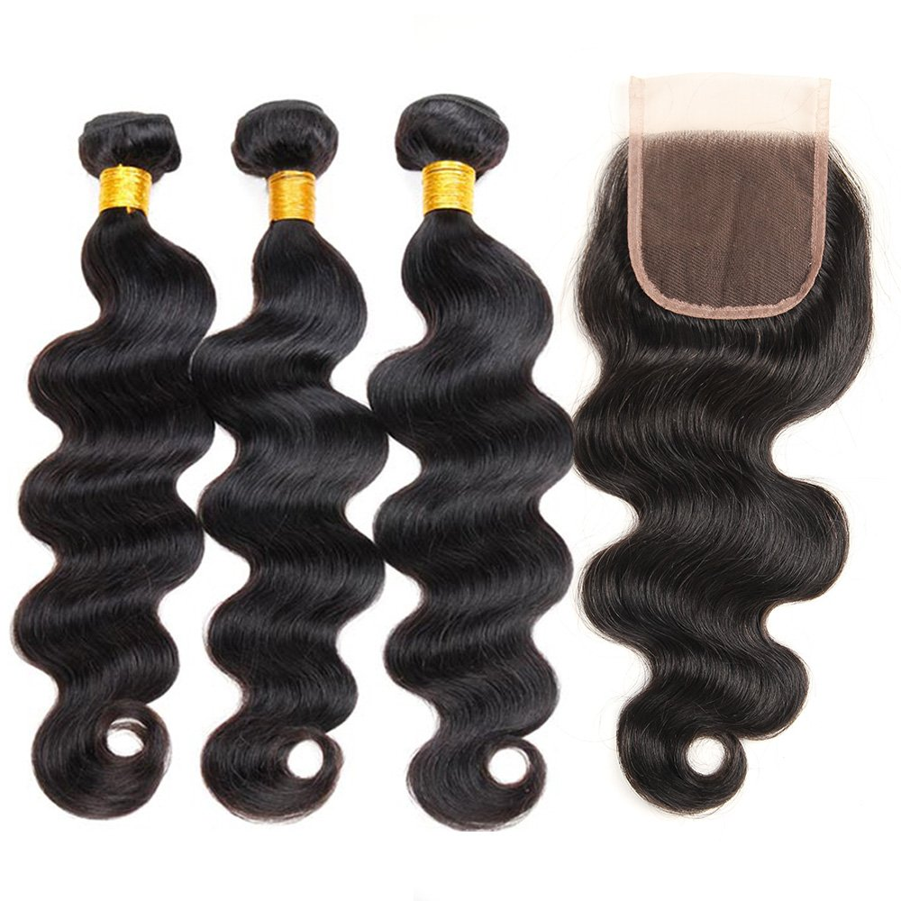 ZILING Brazilian Virgin Hair Body Wave with Lace Closure 3 Bundles with Closure(14 16 18 w 14 Free Part )