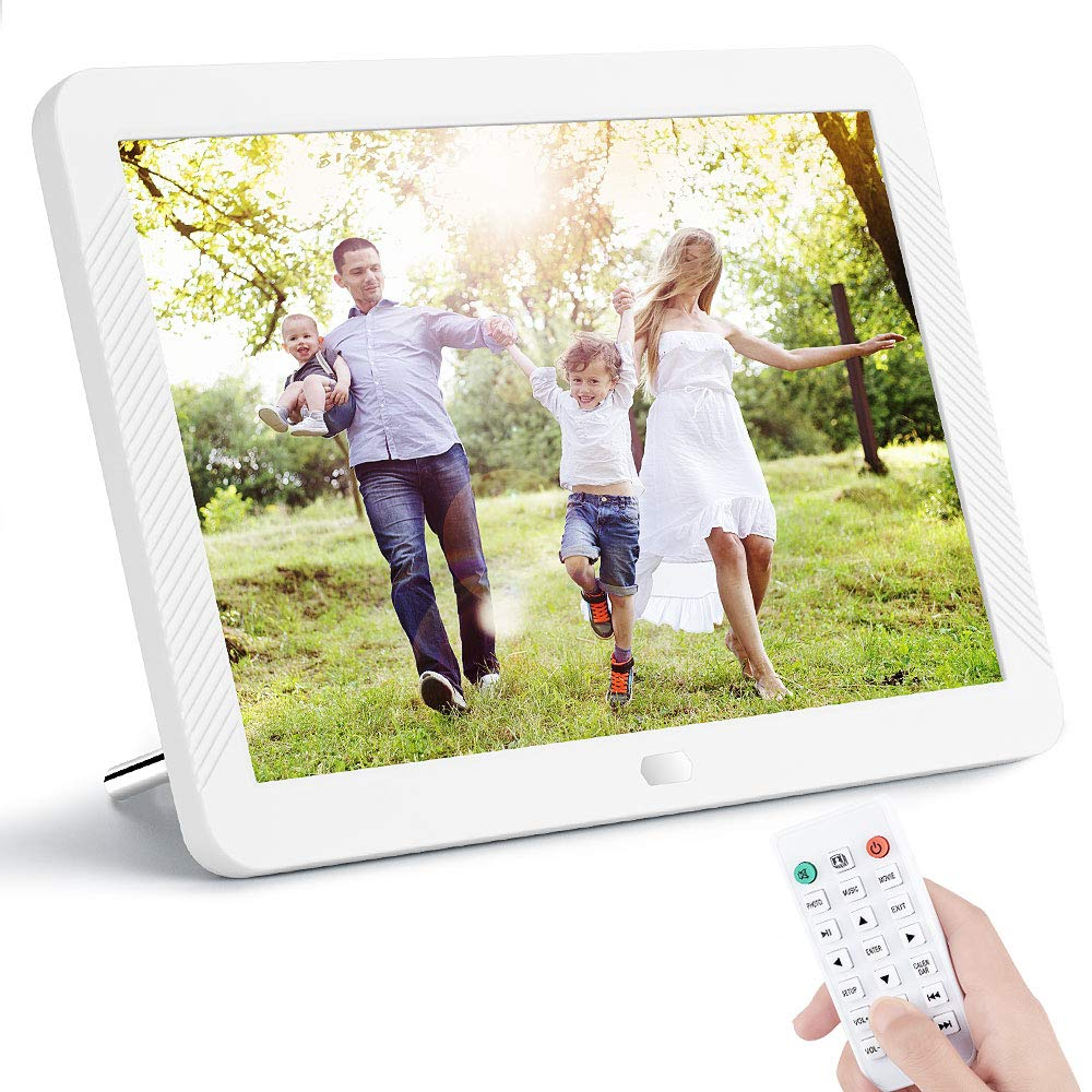 10.1 Inch Digital Photo Frame NAPATEK Digital Picture Frame 1920x1080 IPS Display Electronic Picture Frame 1080P HD Video Playback Music Calendar Alarm Remote Control Support 128G SD-Black