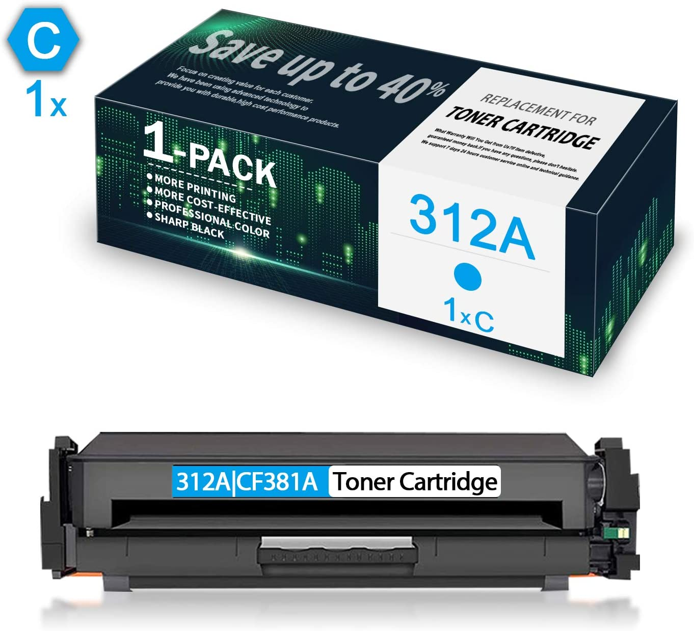 2 Pack 312A CF381A Cyan Remanufactured Toner Cartridge Replacement for HP Color Laserjet Pro MFP M476dw MFP M476dn,MFP M476nw Printers,by CuToner.