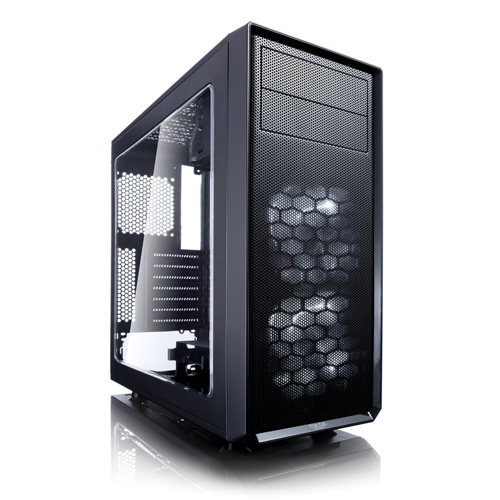 Fractal Design Focus G - Mid Tower Computer Case - ATX - High Airflow - 2X Silent ll Series 120mm White LED Fans Included - USB 3.0 - Window Side Panel - Black by Fractal Design