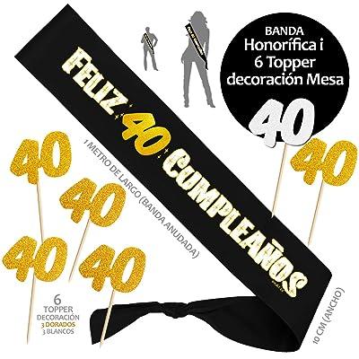Inedit Festa - Banda 40 Años Cumpleaños Banda Honorífica Feliz 40 Cumpleaños y 6 Topper. 1979 Naciste: Hogar
