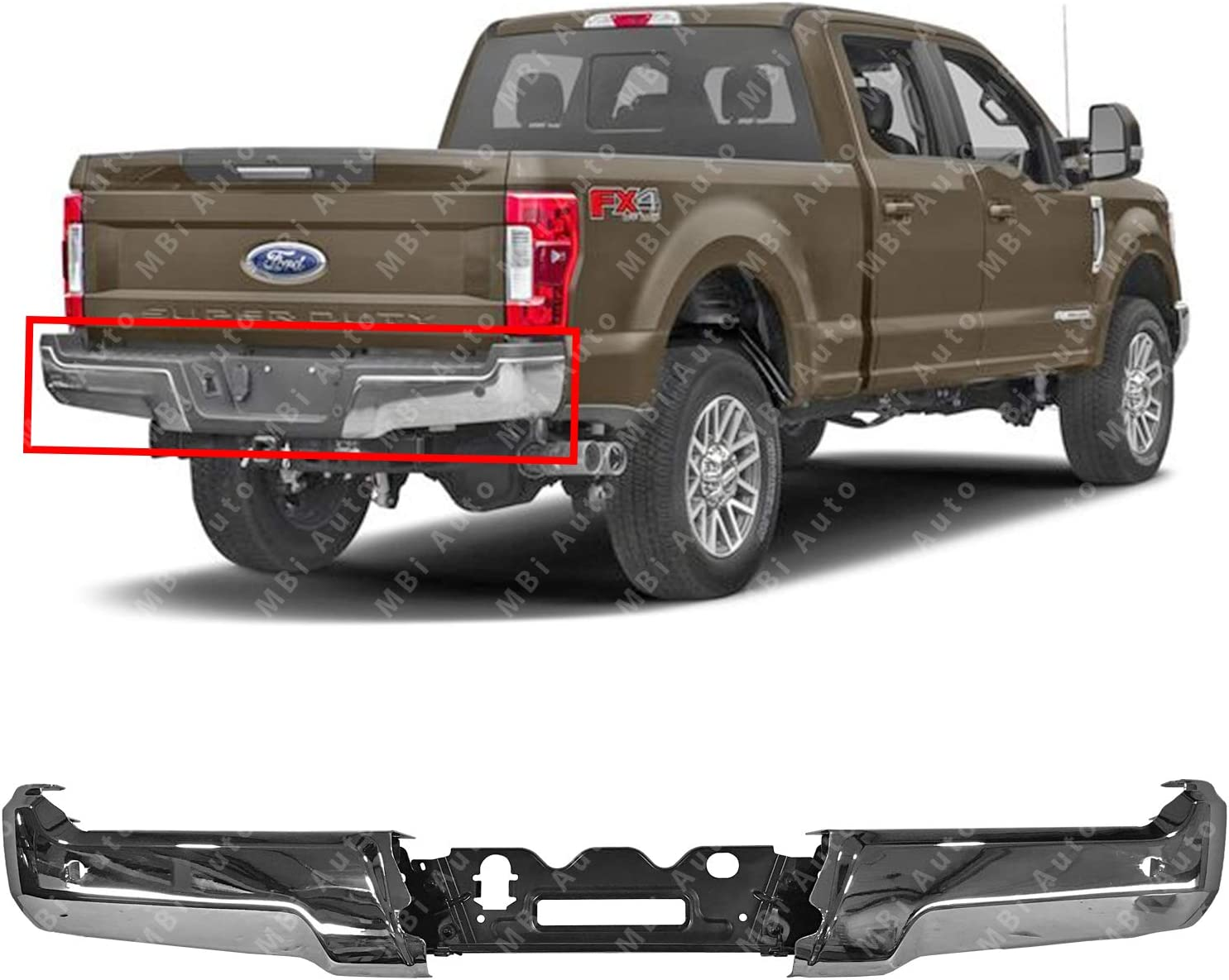 Steel Rear Bumper Ends w//Stabilizer Bar for 2017 2018 F250 F350 Super Duty w//Park Assist 17 18 FO1103202 Chrome MBI AUTO