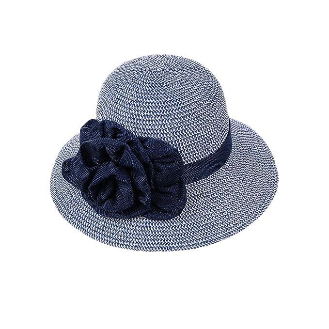 Sombreros de Paja Panamá Mujeres Niñas Cinta Bowknot Al Aire Libre Playa  Primavera Verano Sombrero de Sol Azul Oscuro  Amazon.es  Ropa y accesorios 172dc1be5df