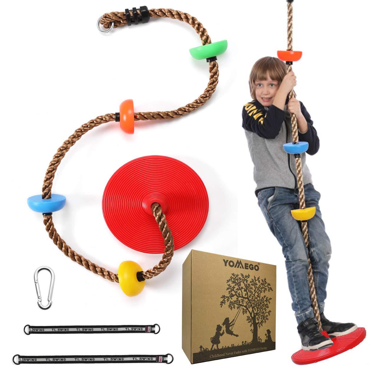 YOMEGO Climbing Tree Swing Saucer Swing with Heavy Duty Rope Good Backyard