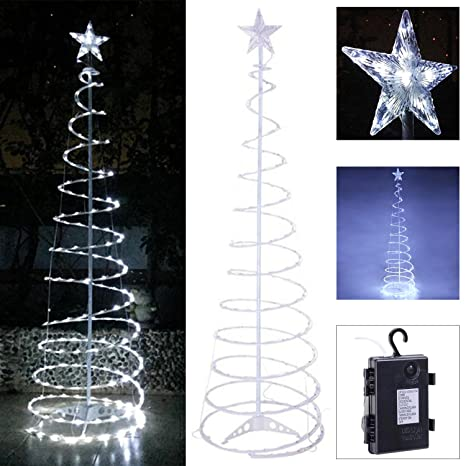 koval inc 5ft 6ft indoor outdoor clear led lighted spiral christmas tree 5ft