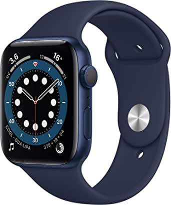 Apple Watch Series 6 (GPS, 44 mm) Caja de aluminio en azul - Correa deportiva azul marino intenso