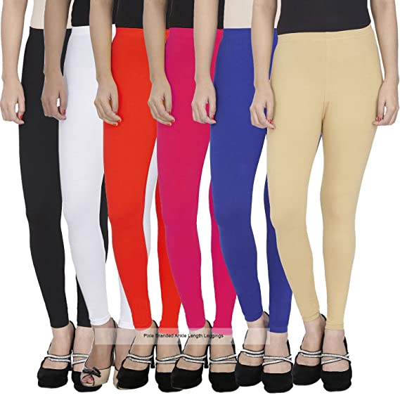 0503b891cc74e6 Pixie Women's Cotton Lycra Stretchable Ankle Length Leggings(PANK160GSMCOMBO6-5_  Multicolour_Free Size) - Pack of 6: Amazon.in: Clothing & Accessories