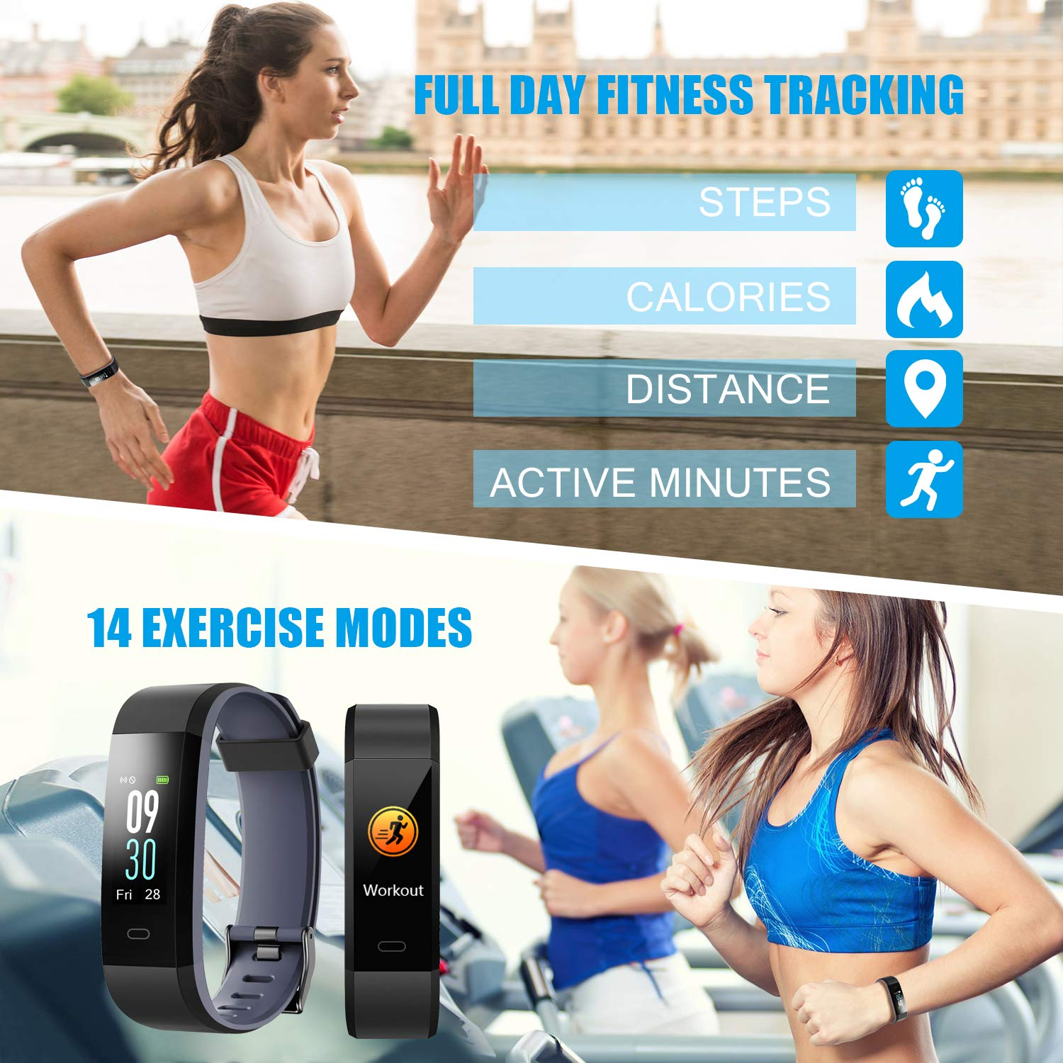 LETSCOM Fitness Tracker, Heart Rate Monitor IP68 Waterproof Color Screen  Smart Watch, Activity Tracker Sleep Monitor Step Calorie Counter Pedometer