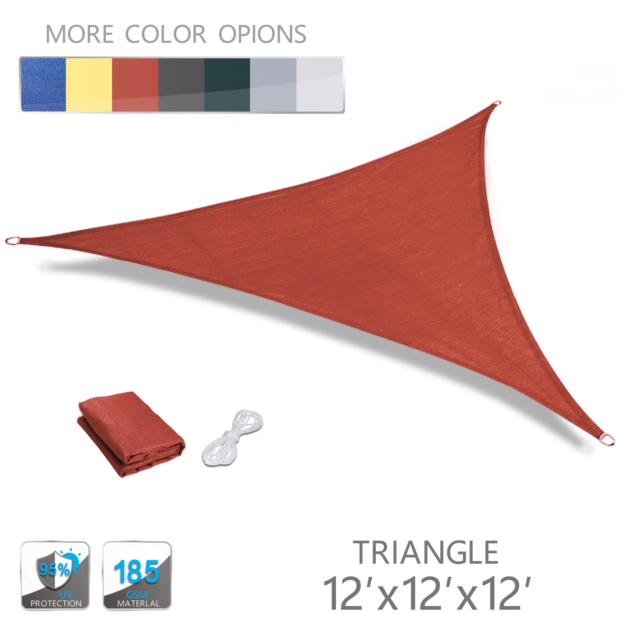 Love Story 12' x 12' x 12' Triangle Terra UV Block Sun Shade Sail Perfect for Outdoor Patio Garden by Love Story