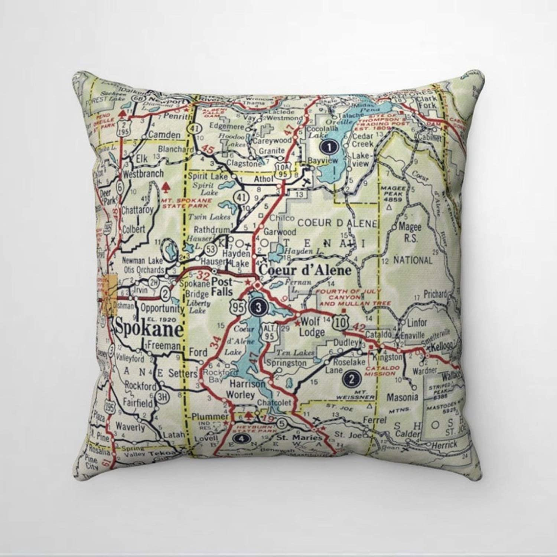 BYRON HOYLE Coeur D'Alene Idaho Map Cushion Cover,Throw Pillow Cover,Rustic Linen Decorative Lumbar Pillowcase for Chair Room Sofa car,Home Decor,Housewarming 18x18 Inch