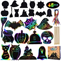 Max Fun Rainbow Color Scratch Halloween Ornaments (48 Counts) - Magic Scratch Off Cards Paper Hanging Art Craft Supplies Educational Toys Kit with 24 PCS Wooden Stylus & Cords for Kids Party Favors