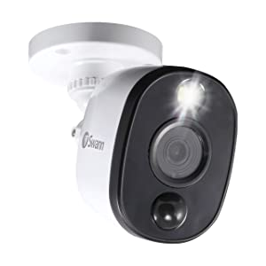 Swann Indoor/Outdoor Home Security Camera, 1080p PIR Bullet Cam with Motion Sensor Spotlight, Infrared Night Vision, Thermal Heat Sensing, BNC Wired Add to DVR, SWPRO-1080MSFB-US