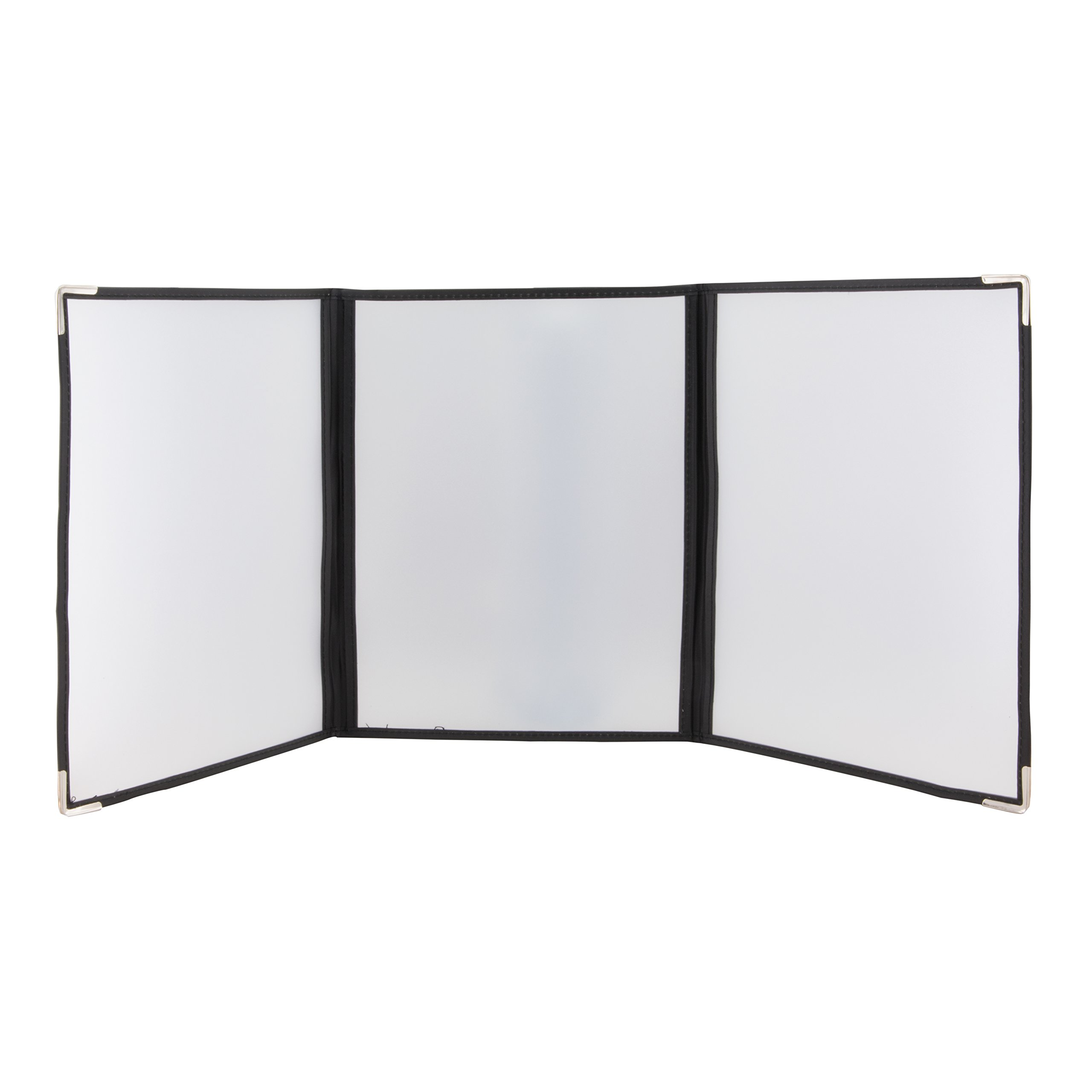 18 Pack of Triple Fold Out Page Restaurant Menu Cover Holders - Transparent - Double Stitched - Metal Corners - Black