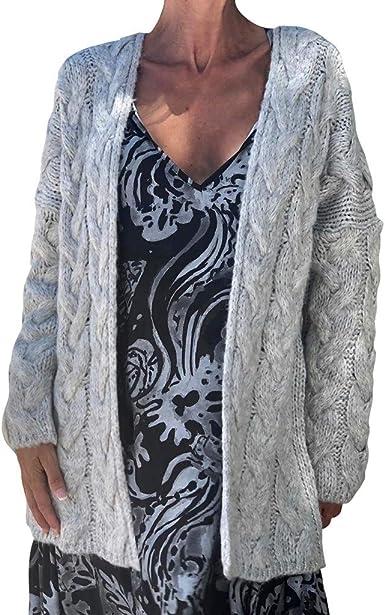 Hand Knit Extra Chunky Gray Black Pink Cardigan Sweater TS