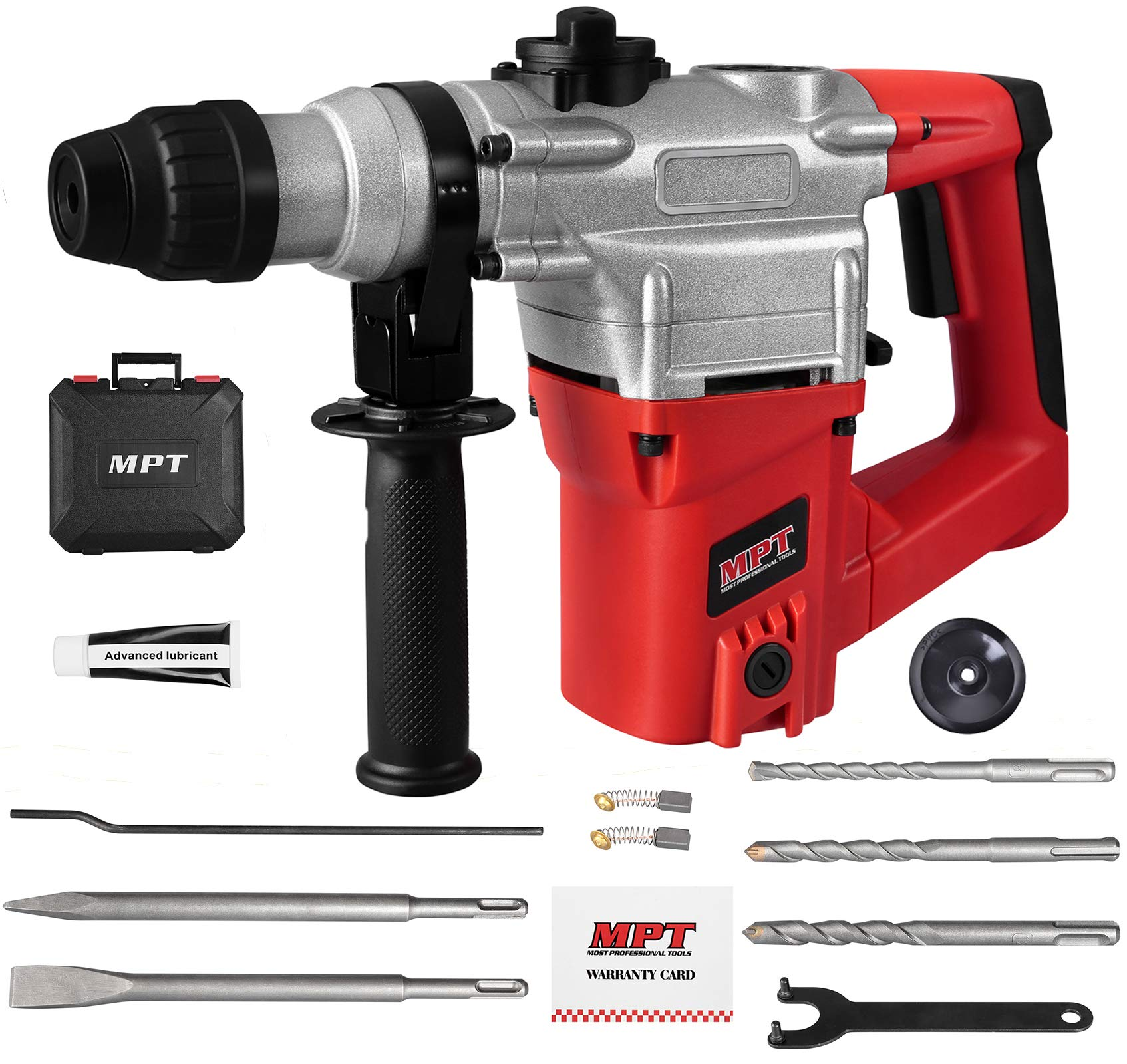 MPT 1 Inch SDS-plus 8.5 Amp Heavy Duty Rotary Hammer Drill,3 Function and Adjustabl Soft Grip Handle,Include 3 Drill Bits,Point and Flat Chisel with Case by MPT