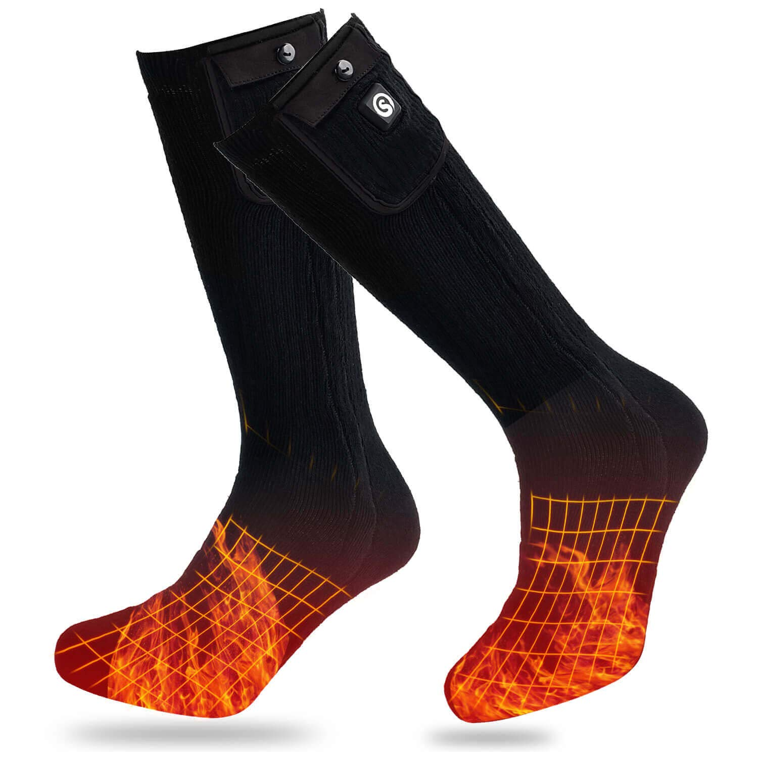Heated Socks Men Women,7.4V 2204mAh Electric Rechargeable Battery Heated Socks for Winter Sports Motorcycle Riding Snow Skiing Warm Cotton Heating Ski Socks Foot Warmer Battery Operated Powered Socks by BARCHI HEAT