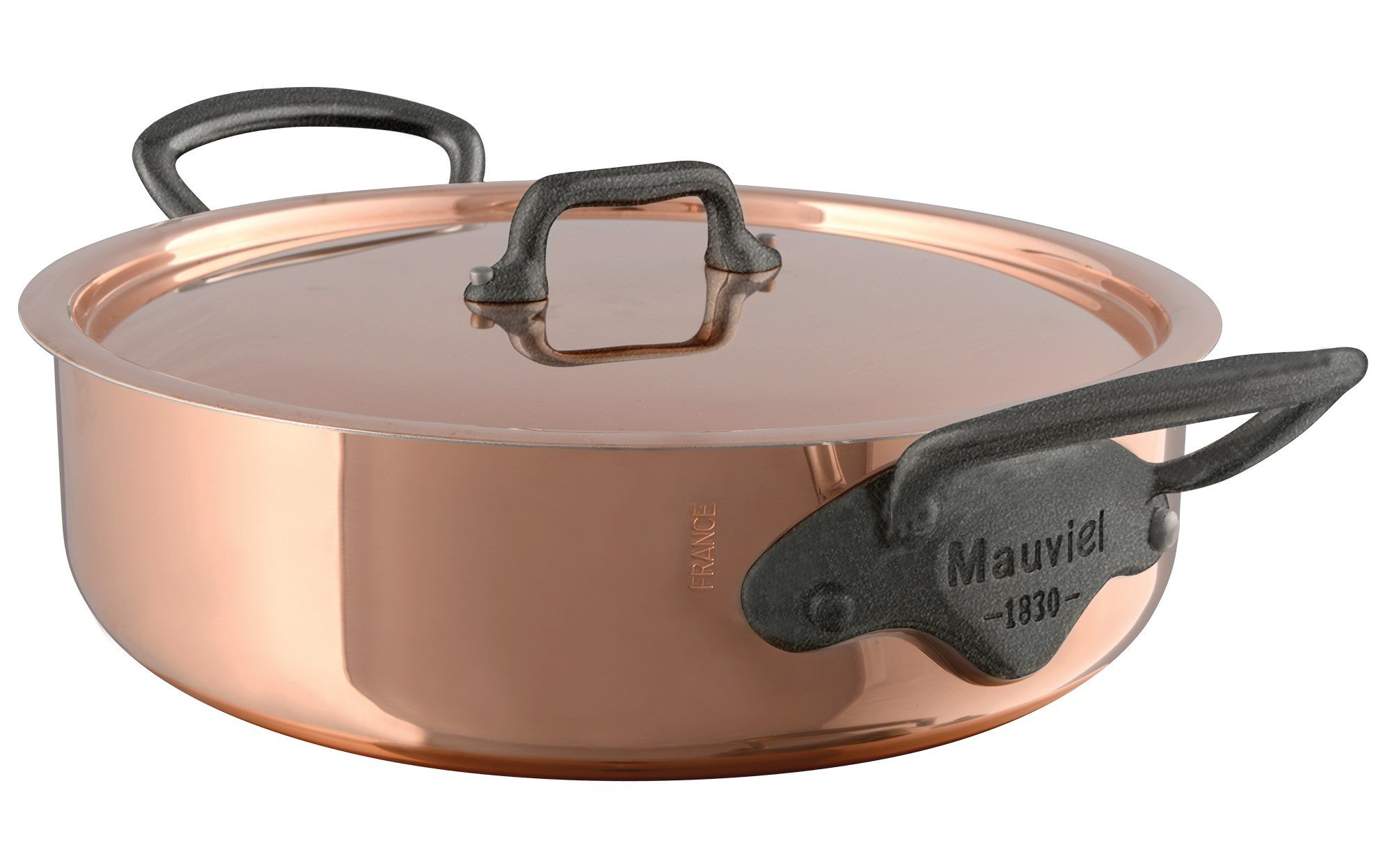 Mauviel M'Heritage M150C 6480.29 Copper Rondeau/Covered Casserole with Lid. 5.4L/5.7 quart 28cm/11'' with Cast Stainless Steel Iron Eletroplated  Handle
