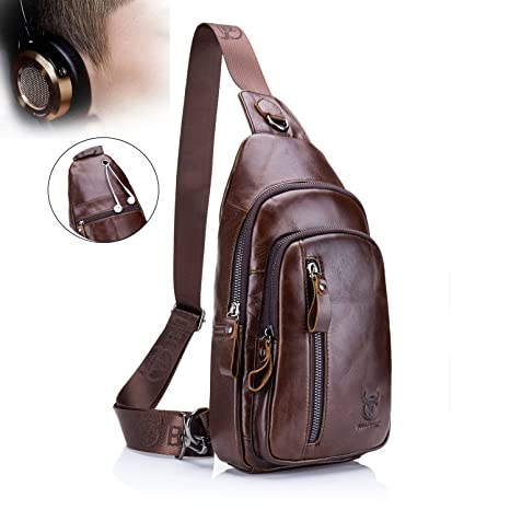 d9b9f9b8f0cf Bull Captain Shoulder Crossbody Bag Premium Cowhide Leather Sling Bag  Backpack with Earphone Hole Outdoor Chest Bag Waterproof for Iphone 8   Ipad  Mini XB- ...