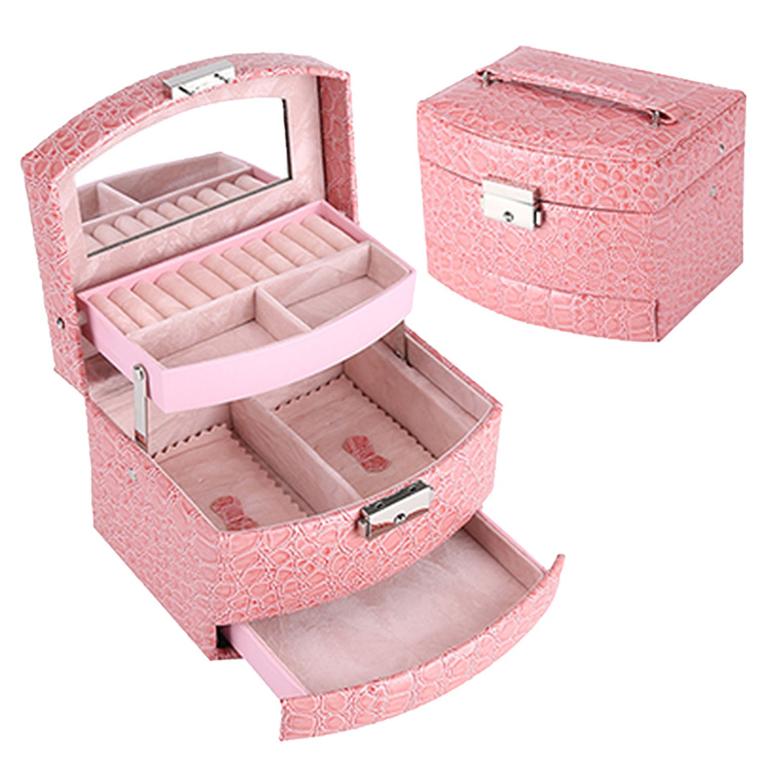 Collocation-Online Jewelry Leather Makeup Organizer Storage Box Container Case Gift Box Women Cosmetic Casket,Pink