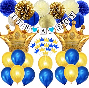 Royal Prince Baby Shower Decorations for Boy, Navy Blue Gold Cupcake Toppers, Crown Foil Balloons, IT'S A BOY Bunting Banner and Tissue Paper Decor