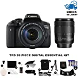 Canon EOS 750D Digital SLR Camera w/ 18-135mm IS STM Lens + TRD ® 20 Piece Digital Essential Kit