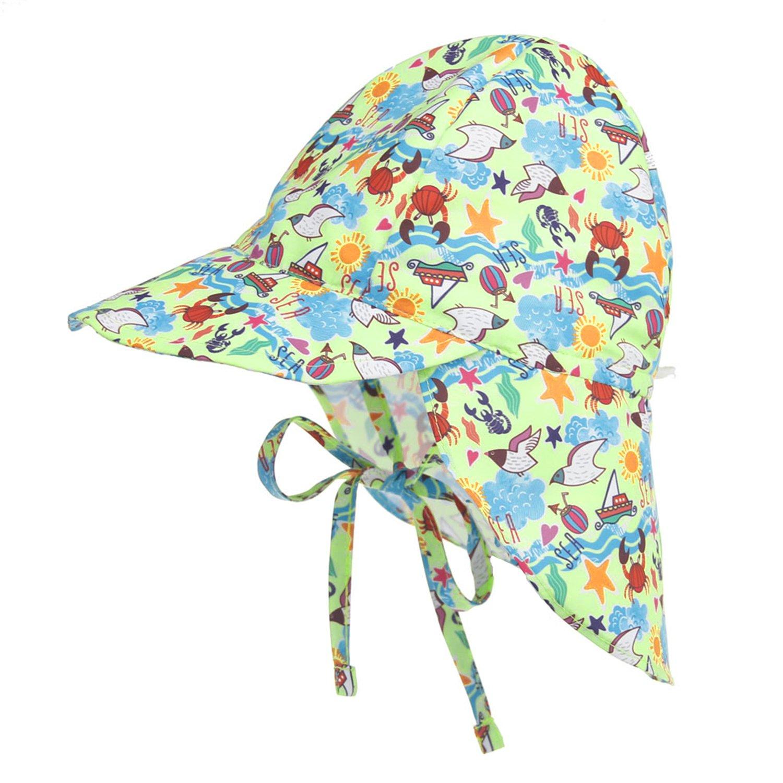 Toddler Summer Beach Sun Protection Hat Wide Brim Sun Hat Girls Boys Swim Hat Legionnaire Flap Cap with Neck Cover Bonnet Beanie Hat Travel Cord Hat Cap for Age 2-5 Years