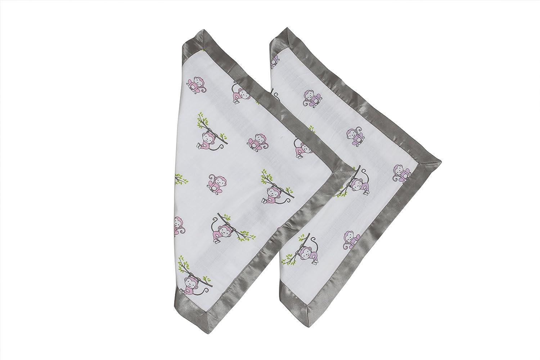 Bacati Happy Monkeys Muslin 2 Piece Security Blankets, Pink/Purple