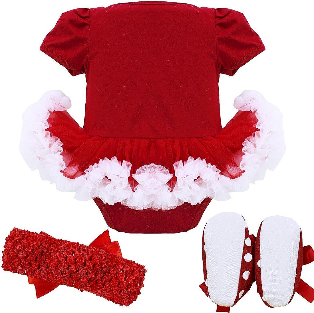Zaldita Ensemble V/êtement de No/ël B/éb/é Fille Barboteuse Robe de No/ël Tutu Robe Manche Courte D/éguisement de P/ère No/ël Body Combinaison /à Pois avec Bandeau Chaussures Rouge 6-9 Mois