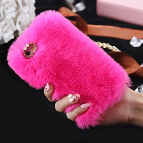 Excelsior Soft Warm Fur Back Case Cover Case for Apple iPhone 8 Plus  Hot Pink  Mobile Phone Cases   Covers