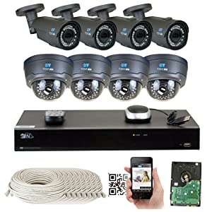 8 Channel H.265 NVR 8 x 4 M Pixel 2.8~12mm Lens IP Security Camera 5T HD