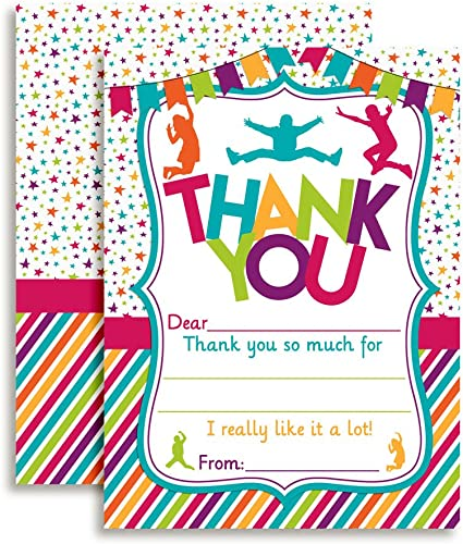 Cute Trampoline Party Thank You Cards