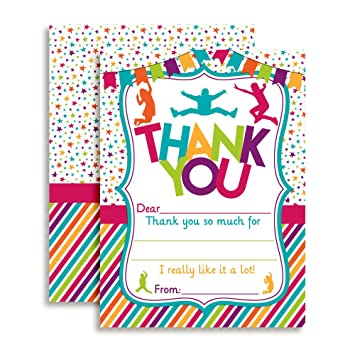 amazon com jump bounce play birthday thank you notes for kids