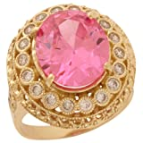 14k Gold White CZ Simulated Birthstone Ladies Statement Ring