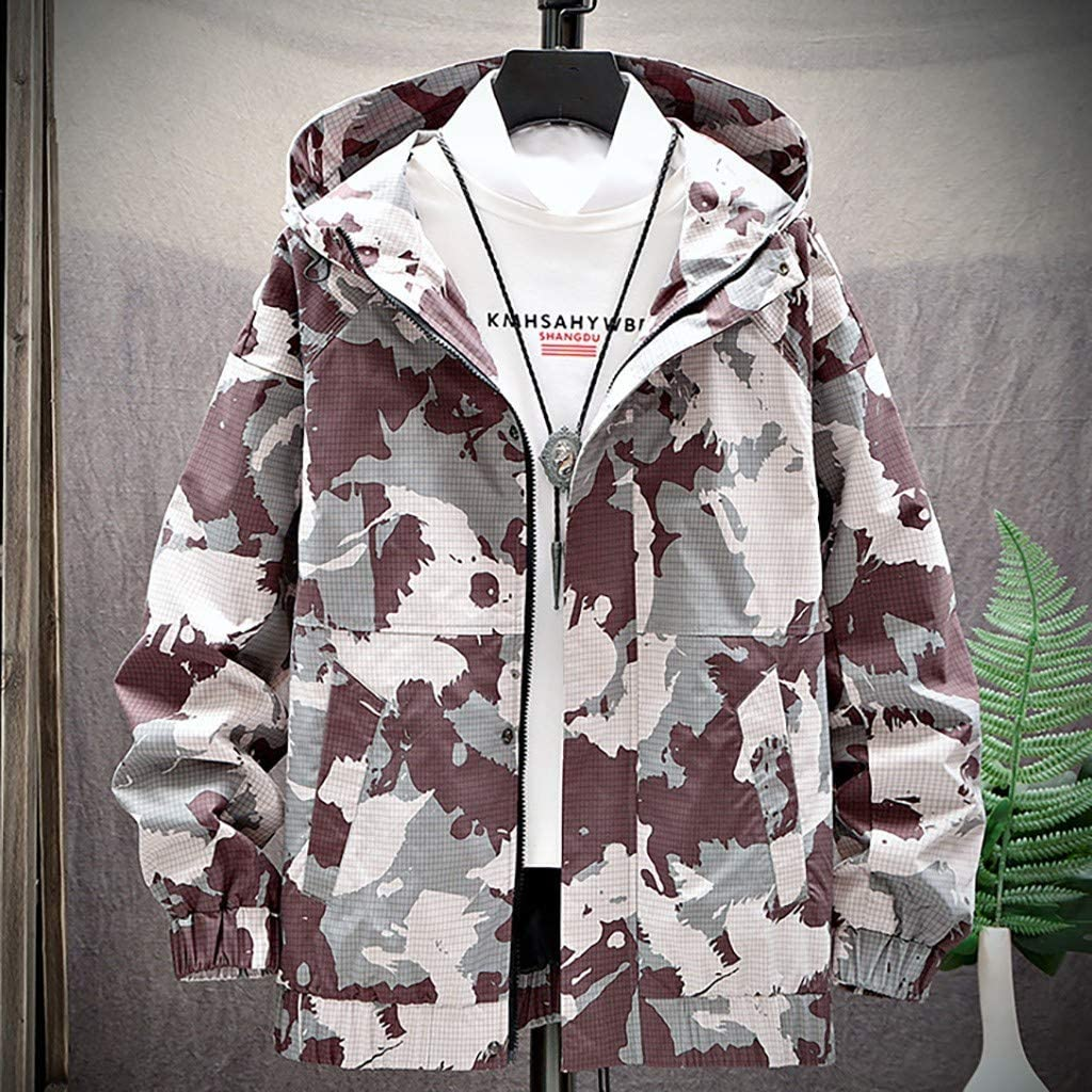 Beautyfine Mens Hoodies Coat Tops Autumn Spring Casual Solid Camouflage Patchwork Stand Collar Thin Jacket Outwear