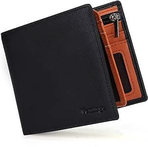 Vemingo Carteras de Hombre con Bolsillo de Moneda/Monedero con RFID Bloqueo para Tarjetas de Crédito Portamonedas Ligeros para Hombre/Adolescente (Xb-037 Negro y Marrón)