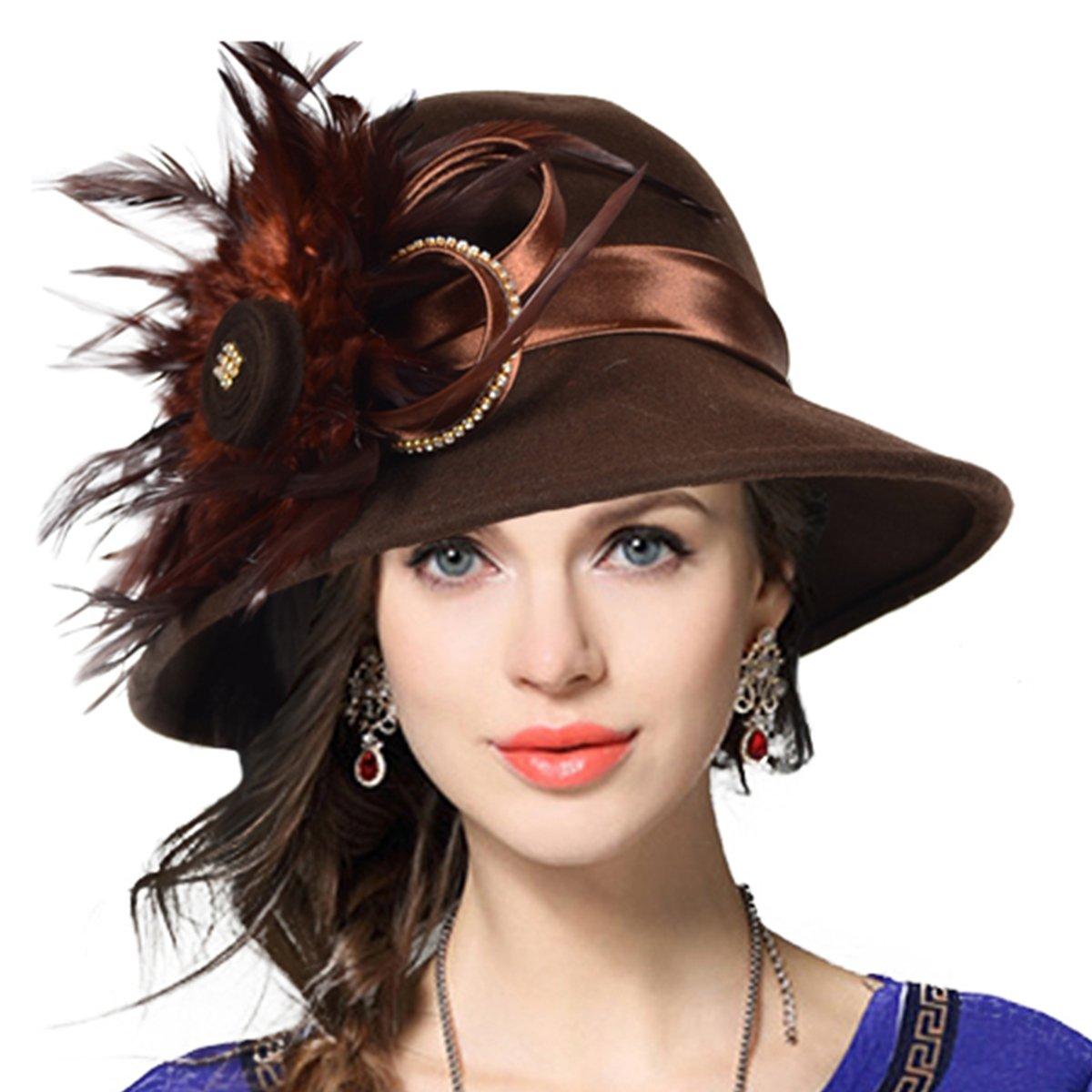 Women's Wool Church Dress Cloche Hat Plumy Felt Bucket Winter Hat (Brown)