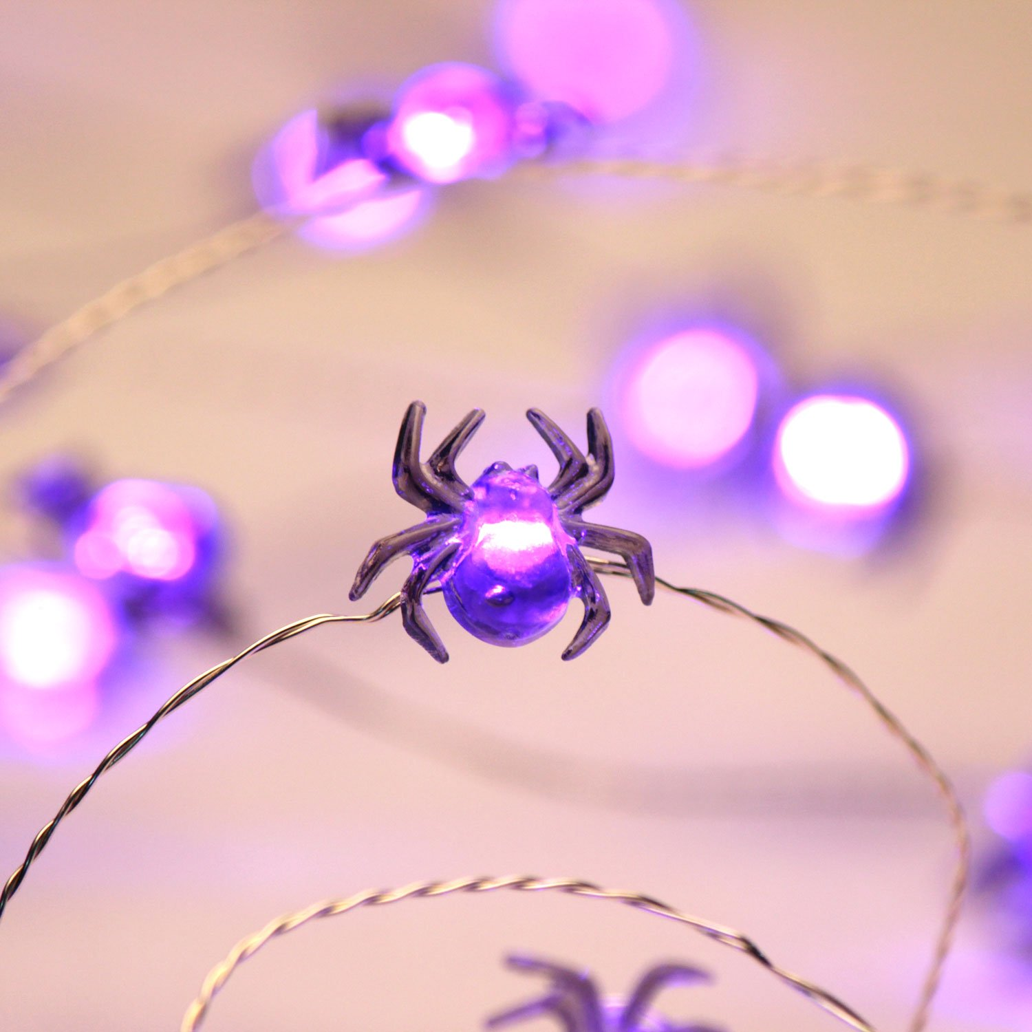 10ft 40 LEDs Battery Operated with Dimmable House Impress Life Christmas Costume Party Spooky Spider String Lights Bedroom Decoration LDSP10SD Patio Flicker Remote for Front Porch Trick or Treat Welcome