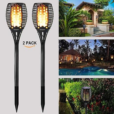 Wasserdicht IP65 Solarleuchte Garten Fackeln,solar fackel mit USB Aufladen /& Wasserdicht Solar Garten Beleuchtung Garten Licht Automatische EIN//Aus (4 St/ück)