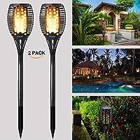 Luces solares para jardín al aire libre a prueba de agua LED parpadeo antorchas de llama Luces de encendido automático / apagado Focos solares