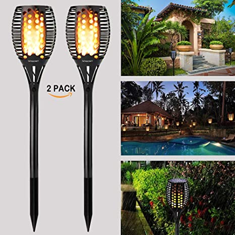 purchase cheap 275ea 828d1 GOGOMY Solar Flame Lights Garden Lights Solar Powered - 96 LED Flickering  Flame Solar Torch Light Dusk to Dawn Auto On/Off - IP65 Waterproof Solar ...