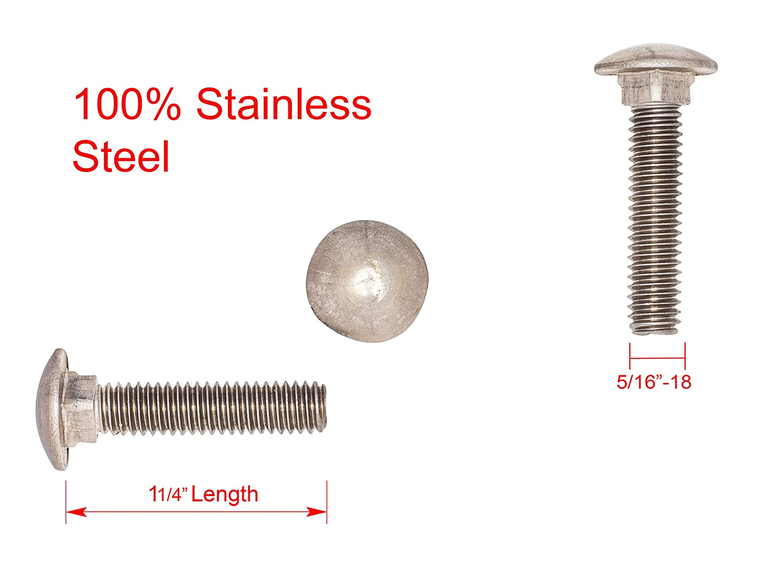 Good Holding Power in Different Materials Durable and Sturdy 10PCS 3//4-10 X 8 Carriage Bolts HOT Dipped Galvanized