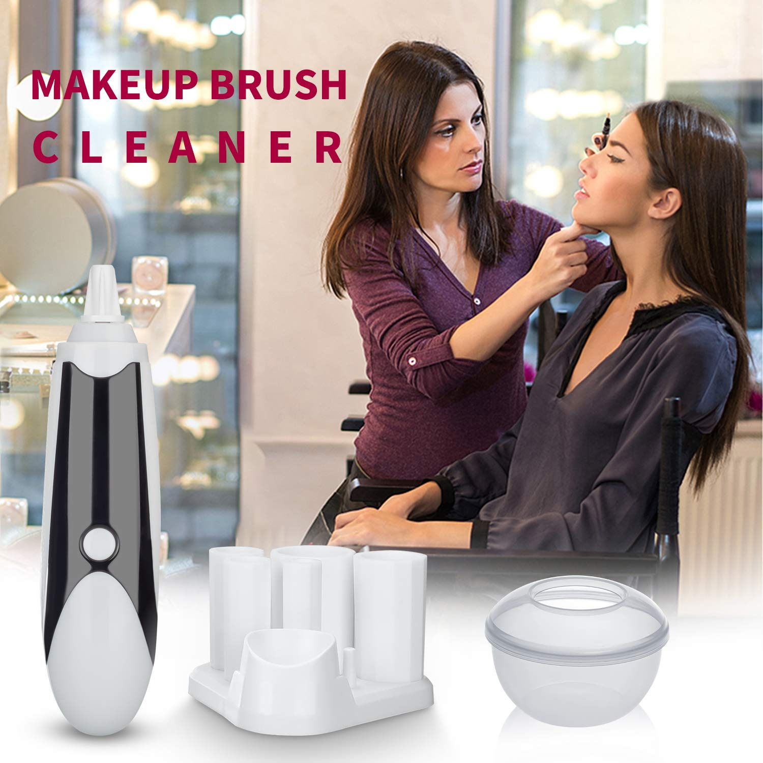 Makeup Brush Cleaner, WLWQ Rechargeable Professional Makeup Brush Cleaner and Dryer Machine, Electronic Automatic Brushes Cleaner with 360 Rotation Clean & Dry in Seconds