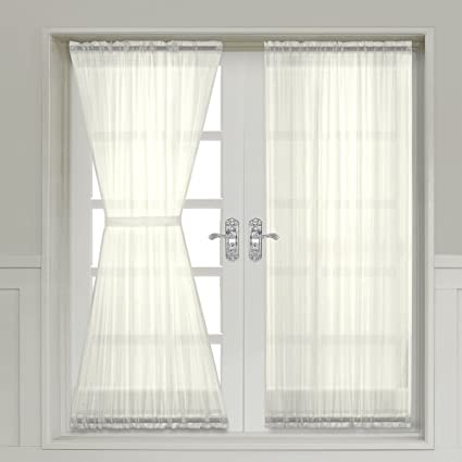 a6550d073c2 Amazon.com  Abri Crushed Sheer Door Curtain 72-inch long panel (Ivory)   Home   Kitchen