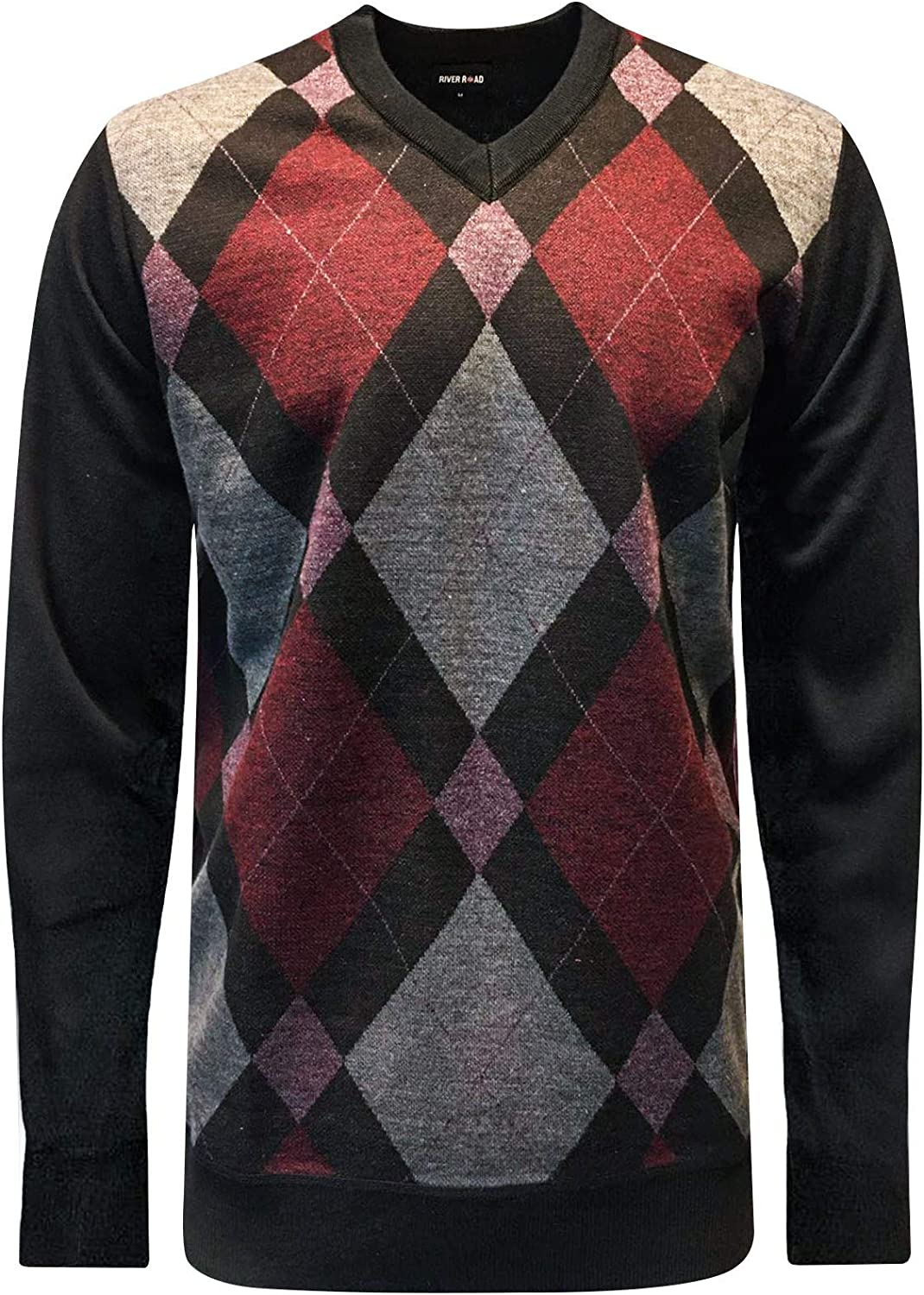 Mens Diamond Argyle River Road Jumper Knitted V Neck Sweater Pullover Soft Top